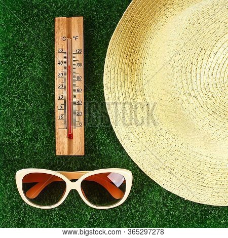 Thermometer Displaying High 40 Degree Hot Temperatures In Sun Summer Day. Temperature 40. Summer Tem