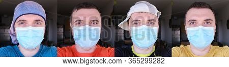 Concept Of A Selfie A Day During Coronavirus (covid-19) Of A Man Wearing Medical Mask And Different