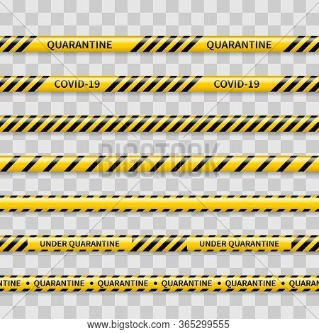 Quarantine Covid-19 Caution Tapes. Set Of 9 Realistic Seamless Warning Tapes Isolated On Transparent