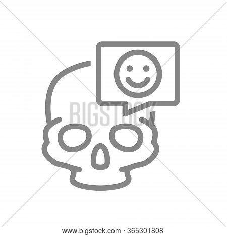Skull With Happy Face In Speech Bubble Line Icon. Bone Structure Of The Head, Cranium Symbol