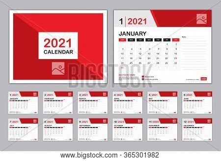 Calendar 2021 Template, Set Desk Calendar Design, Set Of 12 Calendar Pages  With Cover Design Vector