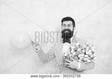 Flowers Delivery. Gentleman Romantic Date. Birthday Greetings. For Someone Special. Man Bearded Gent