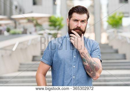 My Beard My Look. Bearded Man Touch Beard Urban Outdoor. Hipster Wear Unshaven Beard And Mustache. B