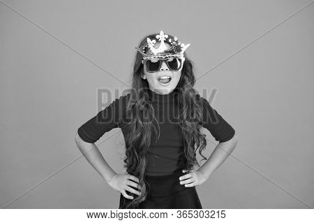 Luxurious Celebration. Queen Of Parties. Carnival Party. Masquerade Concept. Kid Wear Sunglasses And
