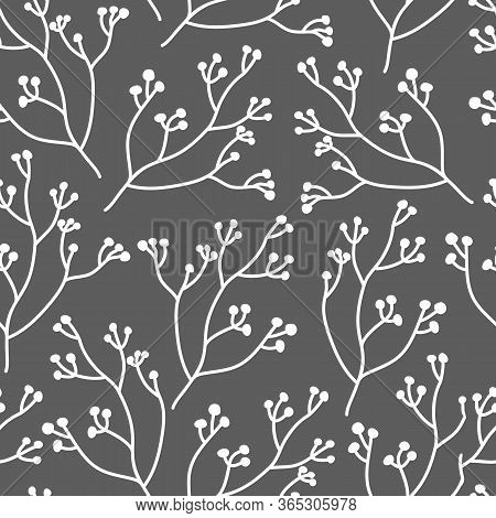Abstract Branch With Berry Seamless Pattern. Limitless Dark Background With White Floral Flat Cartoo