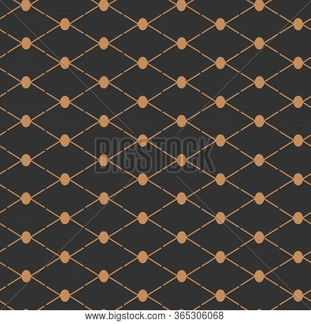 Gold Abstract Seamless Pattern. Limitless Black Background, Stylish Golden Line Geometric Repeat Orn