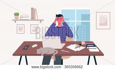 Man Working At Her Desk With Laptop. Home Office. A Lot Of Work, Overworked, Stress, Deadline, Emoti