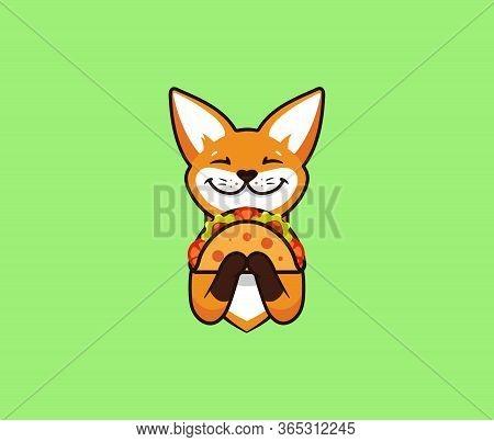 The Logo Funny Fox Eats Taco. Cute Foxy, Cartoon Character, Food Logotypeweb