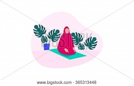 Muslim Woman Practicing Shalat, Islamic Prayer Shalat Illustration