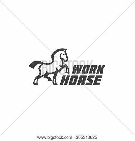 Workhorse Logo Design Template With Walking Horse. Vector Illustration.