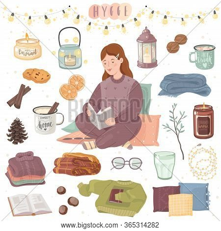 Stay At Home Hygge Cozy Set. A Set Of Items On The Theme Of Comfort In A Cartoon Style On A White Ba