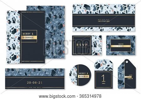 Terrazzo Patterns Wedding Cards. Set Of Wedding Invitation Layouts With Terrazzo Textures And Gold F