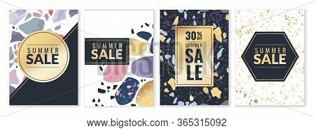 Terrazzo Patterns Posters. Set Of Four Vertical Discount Posters With Terrazzo Textures And Gold Fra