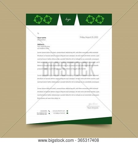 Green Letterhead Pad Template Design .this Is A Very Nice Design.