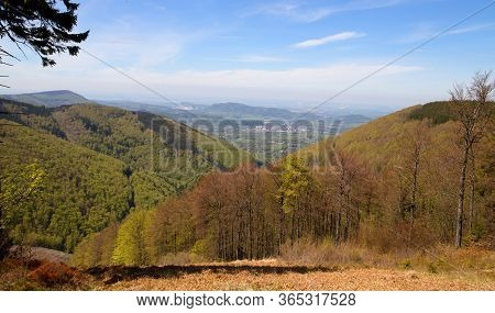 View Of The Valley From Pusteven To The Town Of Frenštát, Moravian-silesian Beskydy, Czech Republic