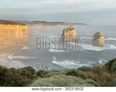 Photo Of The Twelve Apostles, Limestone Rock Stacks At Port Campbell National Park, On The Great Oce