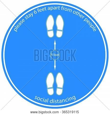 Foot Symbol Marking The Standing Position, The Floor As Markers For People To Stand 6 Feet Apart, Th