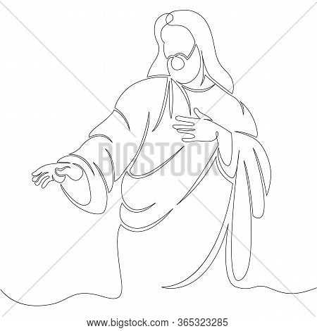One Continuous Line Drawing Minimal Hand Jesus Christ .single Hand Drawn Art Line Doodle Outline Iso