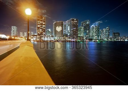 Miami City Skyline Viewed From Biscayne Bay. Miami, Florida, Usa Downtown Skyline. Miami Skyline Pan