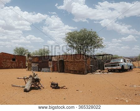 Typical Native Shack In Dry Desert Landscape, Namibia, Africa