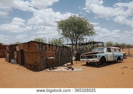 Typical Native Shack In A Dry Desert Landscape, Namibia, Africa