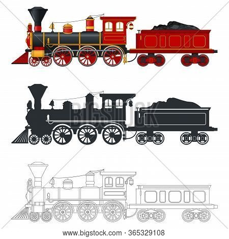 Vintage Steam Locomotive Train With Tender Wagon In Retro Style. Three Different Options: Color, Sil