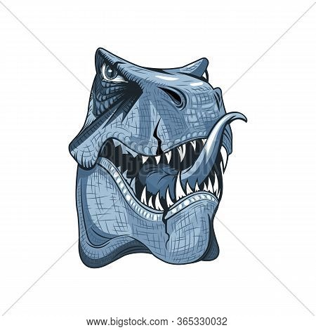Head Drawing Of A Tyrannosaurus With Open Mouth