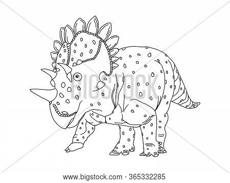 Stylized Herbivore Dinosaur Coloring Page On An Isolated White Background. Anitstress And Developmen