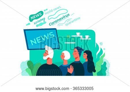 The Family Are Watching News On Tv Together At Home.latest Pandemic News. Concept Flat Cartoon Vecto