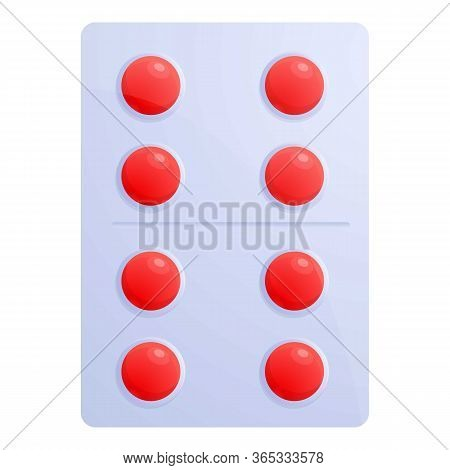 Red Pill Blister Icon. Cartoon Of Red Pill Blister Vector Icon For Web Design Isolated On White Back