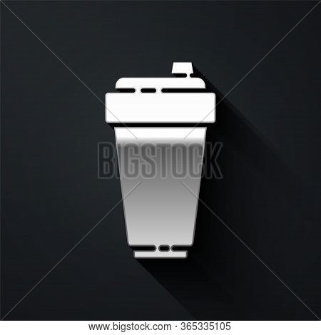 Silver Fitness Shaker Icon Isolated On Black Background. Sports Shaker Bottle With Lid For Water And