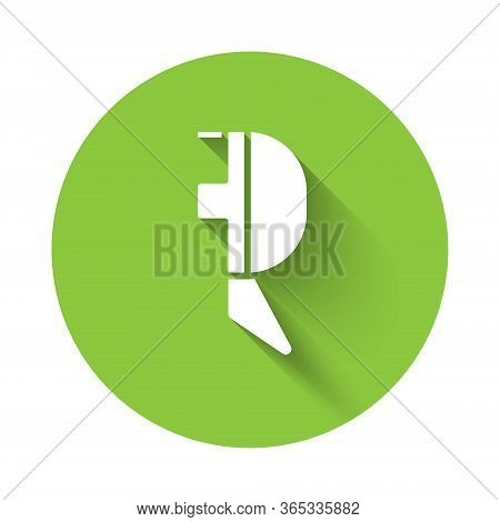White Fencing Helmet Mask Icon Isolated With Long Shadow. Traditional Sport Defense. Green Circle Bu