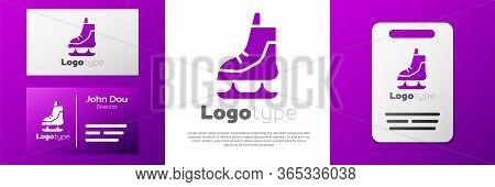 Logotype Skates Icon Isolated On White Background. Ice Skate Shoes Icon. Sport Boots With Blades. Lo