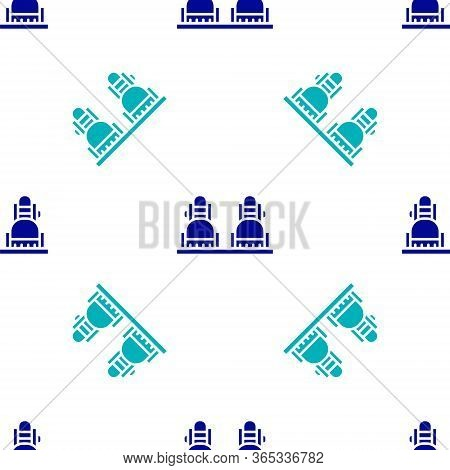 Blue Snowboard Icon Isolated Seamless Pattern On White Background. Snowboarding Board Icon. Extreme