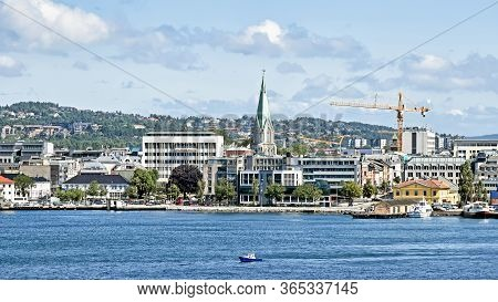Kristiansand, Norway - July 19, 2017: Panorama Of The Norwegian City Kristansand, Seen From The Seas