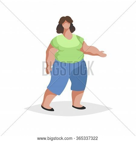 Plus Size Chubby Woman Wearing Jeans And Green Blouse. Flat Trendy Design Style. Love Your Body Icon