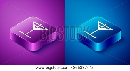 Isometric Martini Glass Icon Isolated On Blue And Purple Background. Cocktail Icon. Wine Glass Icon.