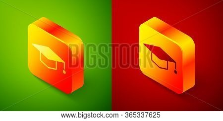 Isometric Graduation Cap Icon Isolated On Green And Red Background. Graduation Hat With Tassel Icon.