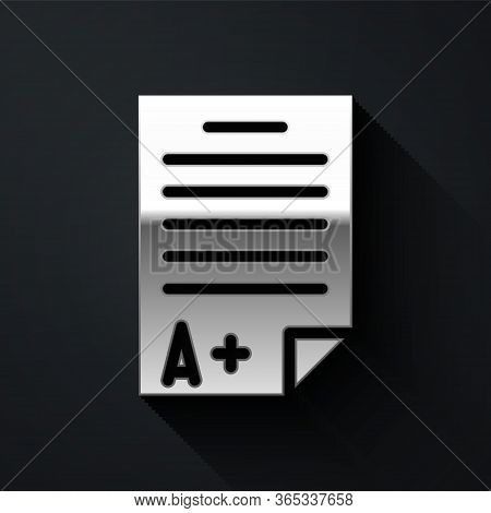 Silver Exam Sheet With A Plus Grade Icon Isolated On Black Background. Test Paper, Exam, Or Survey C