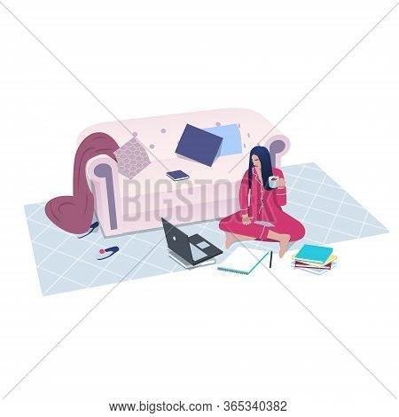 Woman In Pajamas Sitting, Studying Or Working At Home. Online Learning Concept. Enjoy Self-isolation