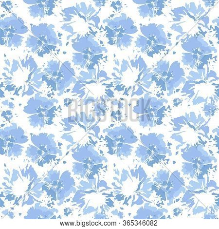 Tie Dye Shibori Background. Vector Seamless Pattern, Ink Textured Background, Japan Rustic Batik Wal