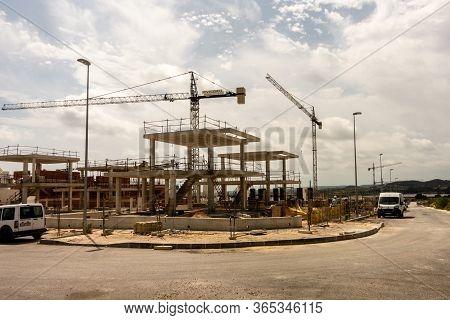 Torrevieja, Valenciana, Spain - May 08 2020 : New Homes Under Construction On Spanish Urbanisation W