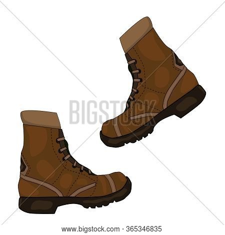 Pair Of Brown Leather Shoes Isolated On White Background. Camping Work Boots From Brown Leather, Cas