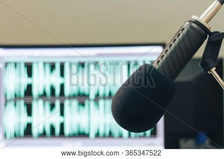 Studio Microphone Of A Radio Host Close Up