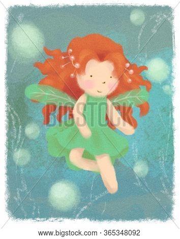 Garden Fairy Greeting Card On Green Backdrop. Little Redhead Princess Magic Banner, Poster. Children