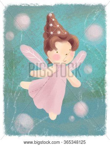 Flower Fairy Greeting Card On Green Backdrop. Little Pink Princess Magic Pastel Poster. Children Fai