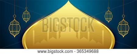 Islamic Eid Festival Banner In Golden Color