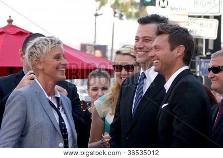 LOS ANGELES - SEP 4:  Ellen DeGeneres, Jimmy Kimmel, Ryan Seacrest at the Hollywood Walk of Fame Ceremony for Ellen Degeneres at W Hollywood on September 4, 2012 in Los Angeles, CA