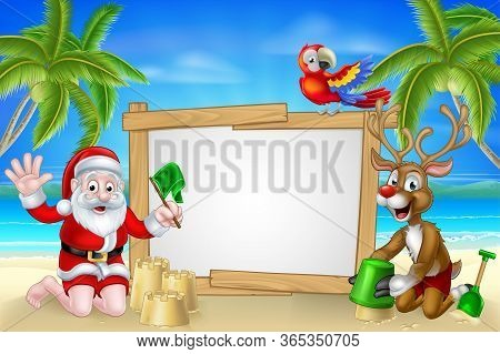 Cartoon Santa Claus And Christmas Reindeer Playing On A Beach Making Sandcastles By The Beach With T