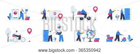 Bundle Of Delivery Service Scenes. Online Order And Couriers Delivery At Home, Global Shipping And L